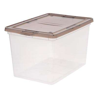 68-Qt. Storage Box in Clear with Gray Lid (6-Pack)