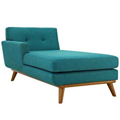 Engage Teal Left-Facing Upholstered Fabric Chaise