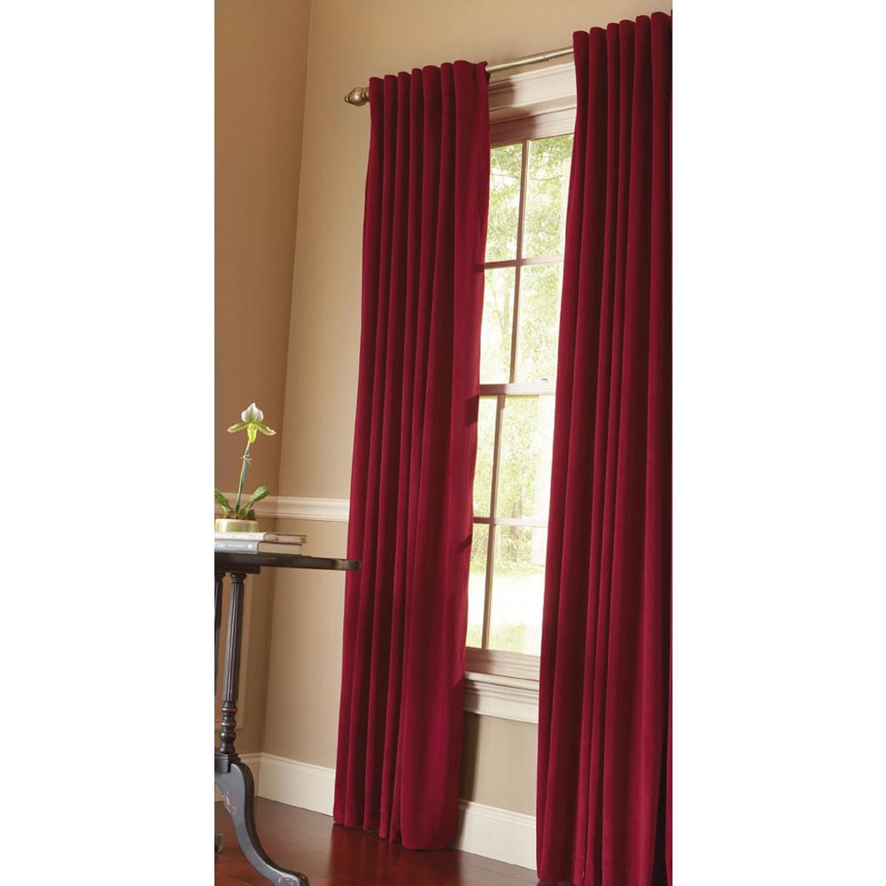 Velvet Lined Room Darkening Window Panel in Cranberry - 50 in. W x 95 in. L