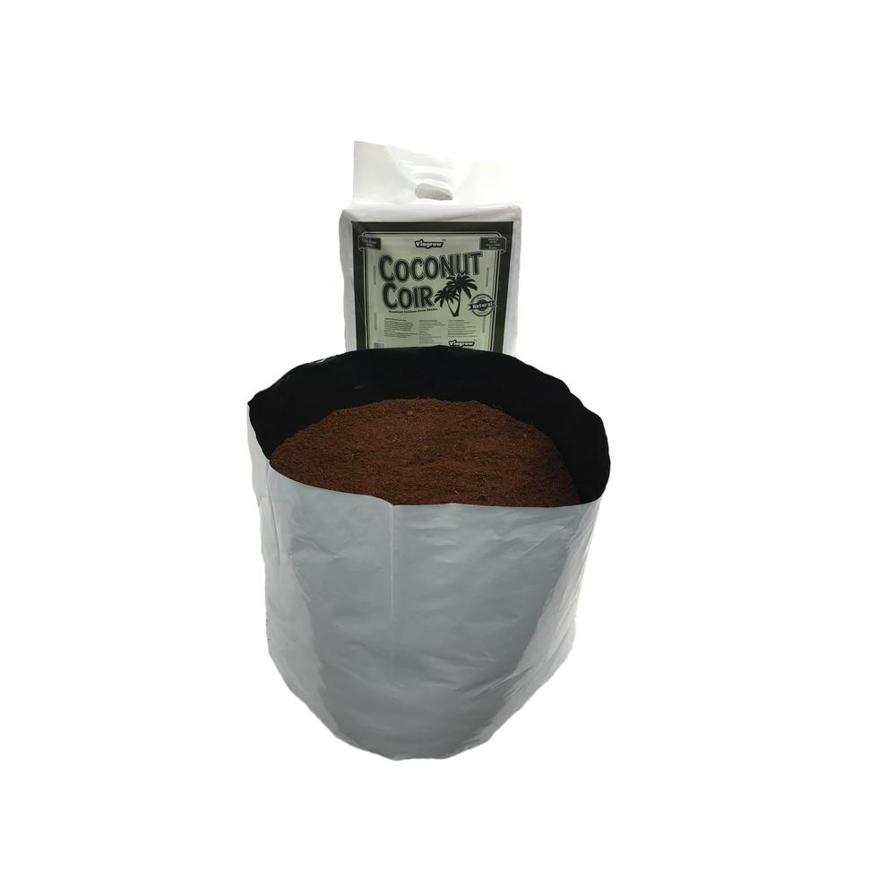 Viagrow Viagrow 20 Gal. Plastic Grow Bag with Coconut Coir Premium Growing Media (1-Pack), Black