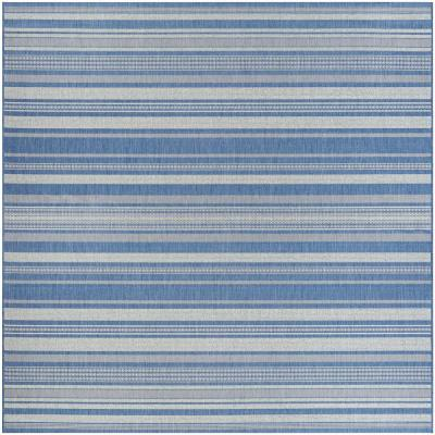 Recife Gazebo Stripe Champagne-Blue 8 ft. x 8 ft. Square Indoor/Outdoor Area Rug