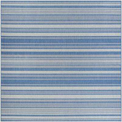 Recife Gazebo Stripe Champagne-Blue 9 ft. x 9 ft. Square Indoor/Outdoor Area Rug