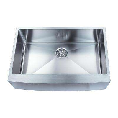 33 in. Handmade Farmhouse Apron Front Stainless Steel Single Bowl Kitchen Sink with Grid and Drain 16-Gauge