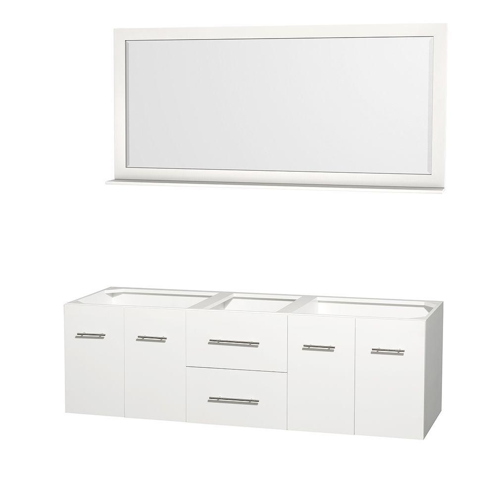 Wyndham Collection Centra 71 in. Double Vanity Cabinet with Mirror in White