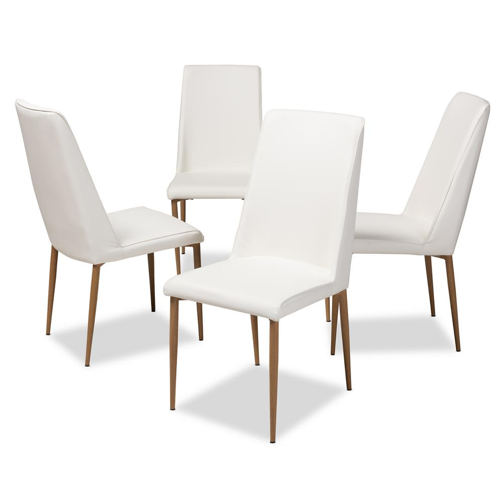 Baxton Studio Chandelle White Faux Leather Upholstered Dining Chair Set Of 4