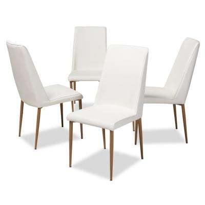 Chandelle White Faux Leather Upholstered Dining Chair (Set of 4)