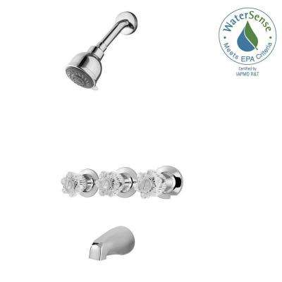 Bedford 3 Handle 3 Spray Tub And Shower Faucet In Polished Chrome (Valve