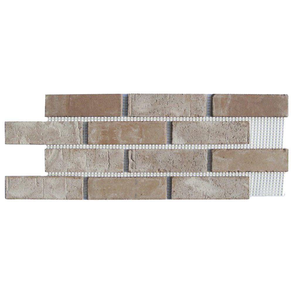 Old Mill Brick Brickwebb Little Cottonwood Thin Brick Sheets - Flats (Box of 5 Sheets) - 28 in. x 10.5 in. (8.7 sq. ft.)