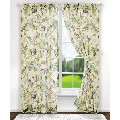 Brissac 70 in. W x 63 in. L Polyester Tailored Pair Curtains with Tiebacks in Blue