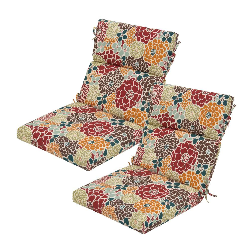 Hampton Bay Lois Floral High Back Outdoor Chair Cushion (2-Pack)-DISCONTINUED