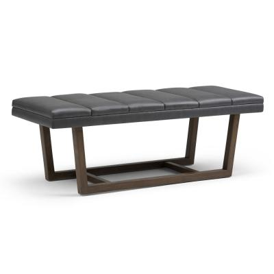 Jenson 53 in. Contemporary Ottoman Bench in Stone Grey Faux Leather