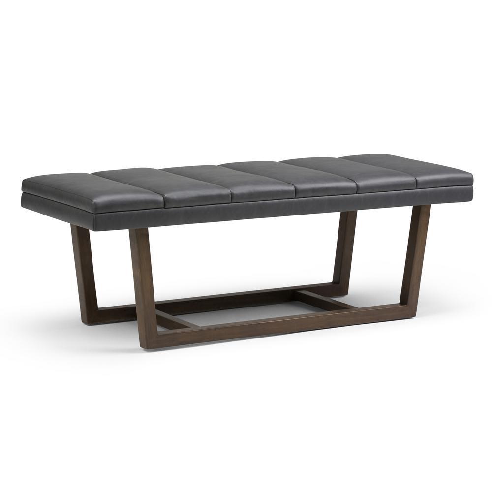 Jenson Stone Grey PU Faux Leather Ottoman Bench