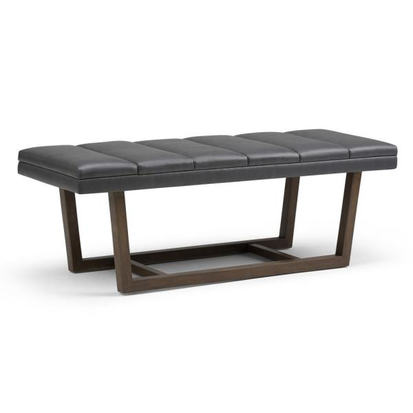 Contemporary Ottoman Bench In Stone Grey Faux Leather
