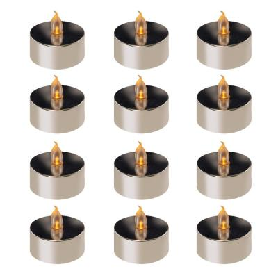 Battery Operated Silver Plated LED Tea Lights (12-Count)