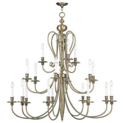 Providence 18-Light Antique Brass Incandescent Ceiling Chandelier