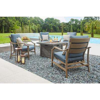 Bridewell 5-Piece Aluminum Patio Fire Pit Conversation Set with Sunbrella Action Denim Cushions