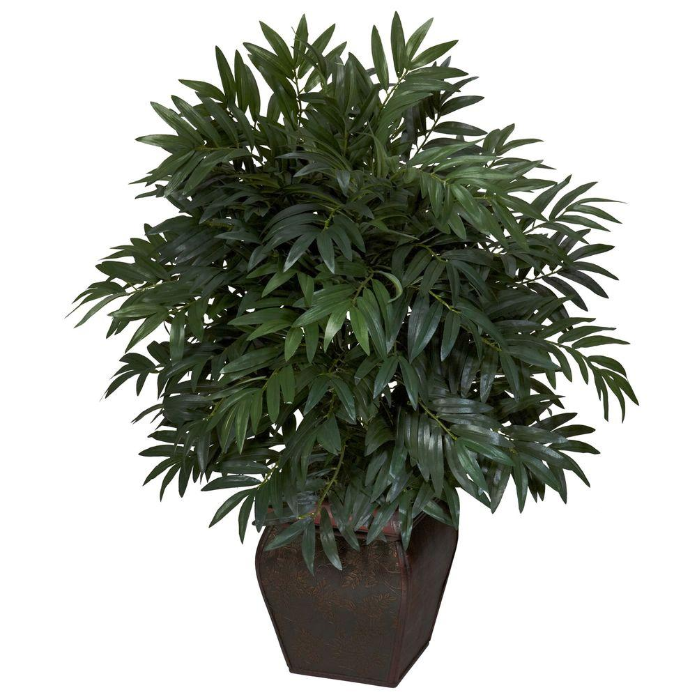 35 in. H Green Double Bamboo Palm with Decorative Planter Silk