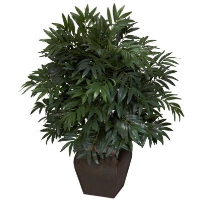 35 in. H Green Double Bamboo Palm with Decorative Planter Silk Plant