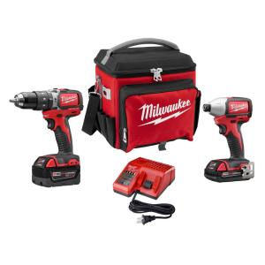 Milwaukee M18 Compact Brushless 2PC Kit with Free Jobsite Cooler