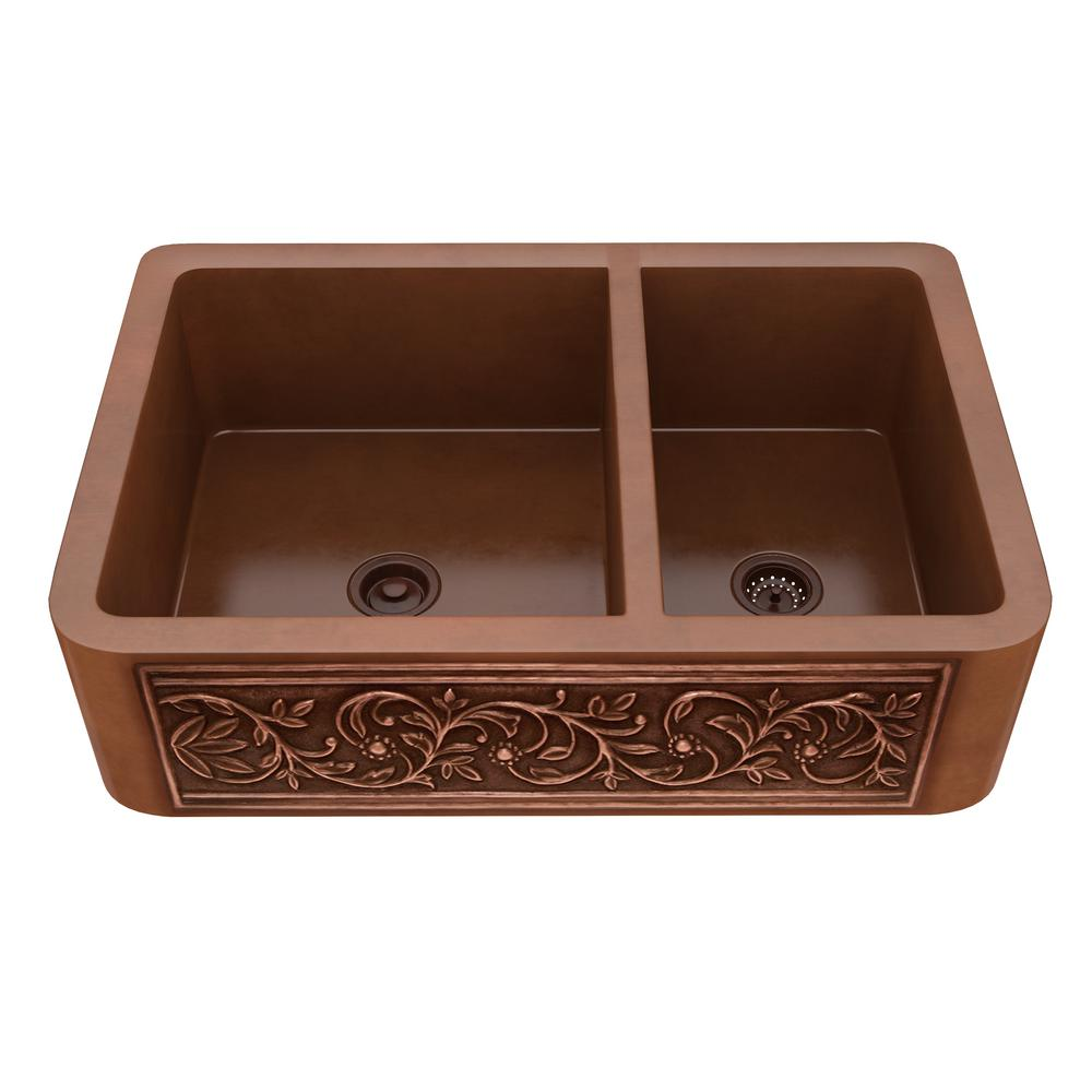 Lamb Farmhouse Handmade Copper 33 in. 60/40 Double Bowl Kitchen Sink