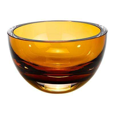 Penelope 6 in. Amber Mouth Blown European Lead Free Crystal Bowl