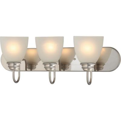 Mari 3-Light Indoor Brushed Nickel Bath or Vanity Light Bar or Wall Mount with White Frosted Glass Bell Shades