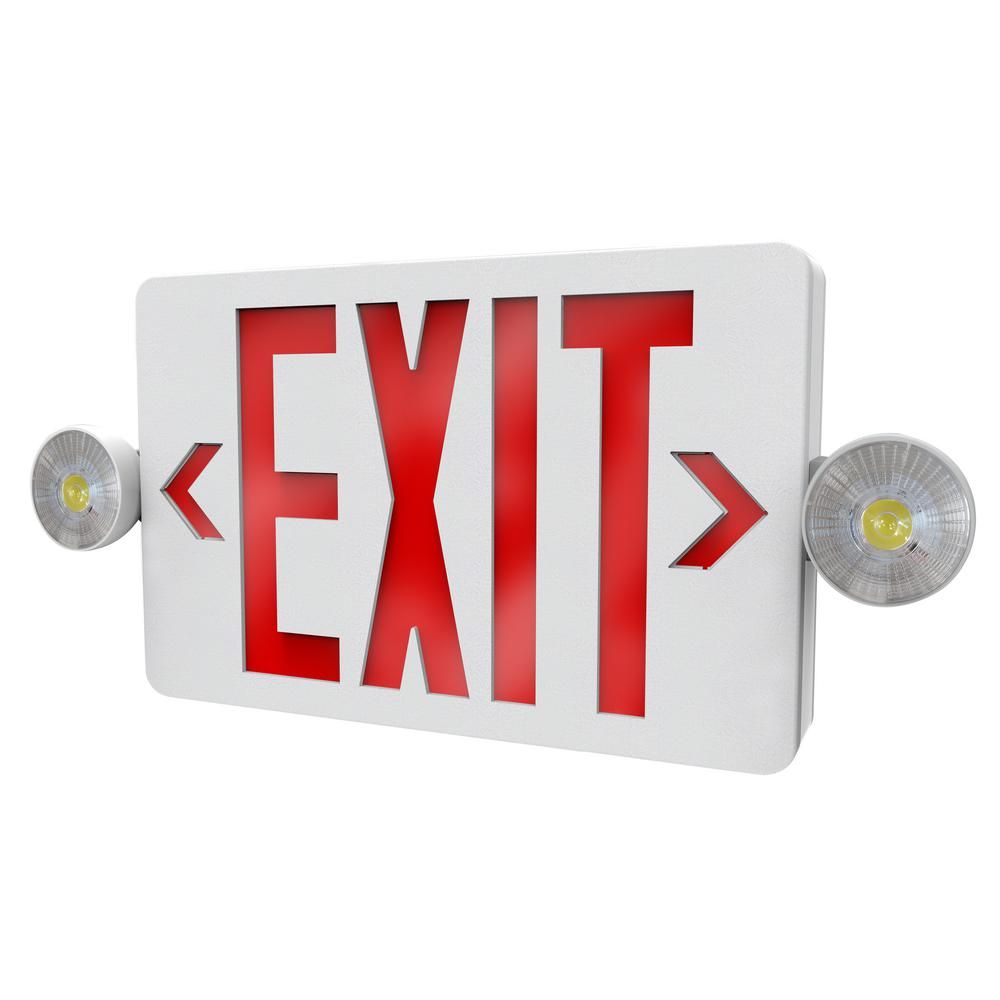 Philips 2 Light Thermoplastic Led White Exit Emergency Combo With Interchangeable Red And Green