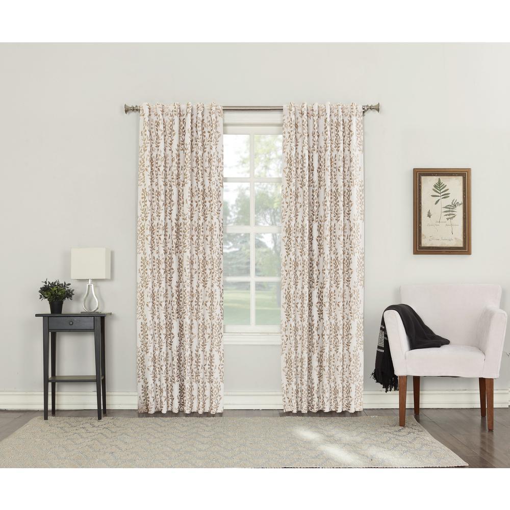Rochelle Linen Lined Back Tab Blackout Curtain - 52 in. W x 63 in. L