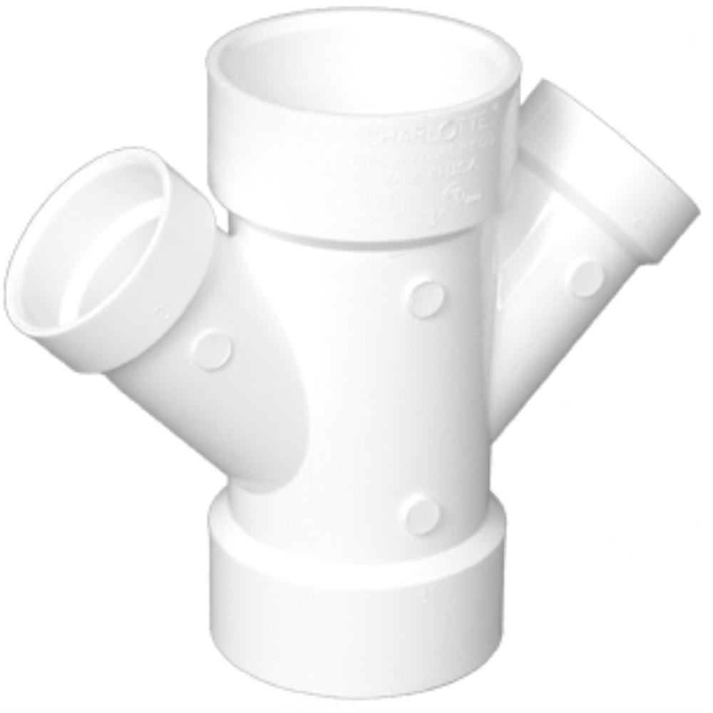 Charlotte Pipe 14 in. x 14 in. x 8 in. x 8 in. PVC DWV Double Wye Reducing