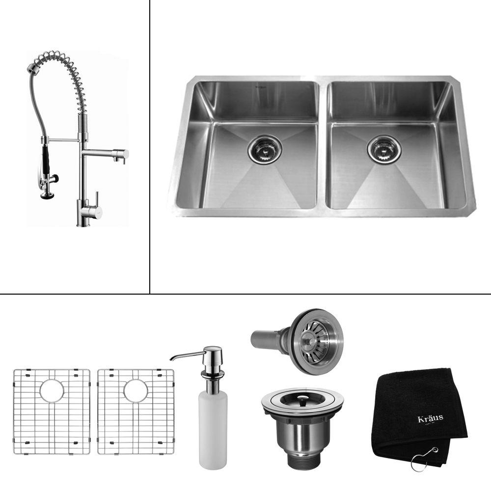 KRAUS All-in-One Undermount Stainless Steel 33 in. 50/50 Double Bowl ...
