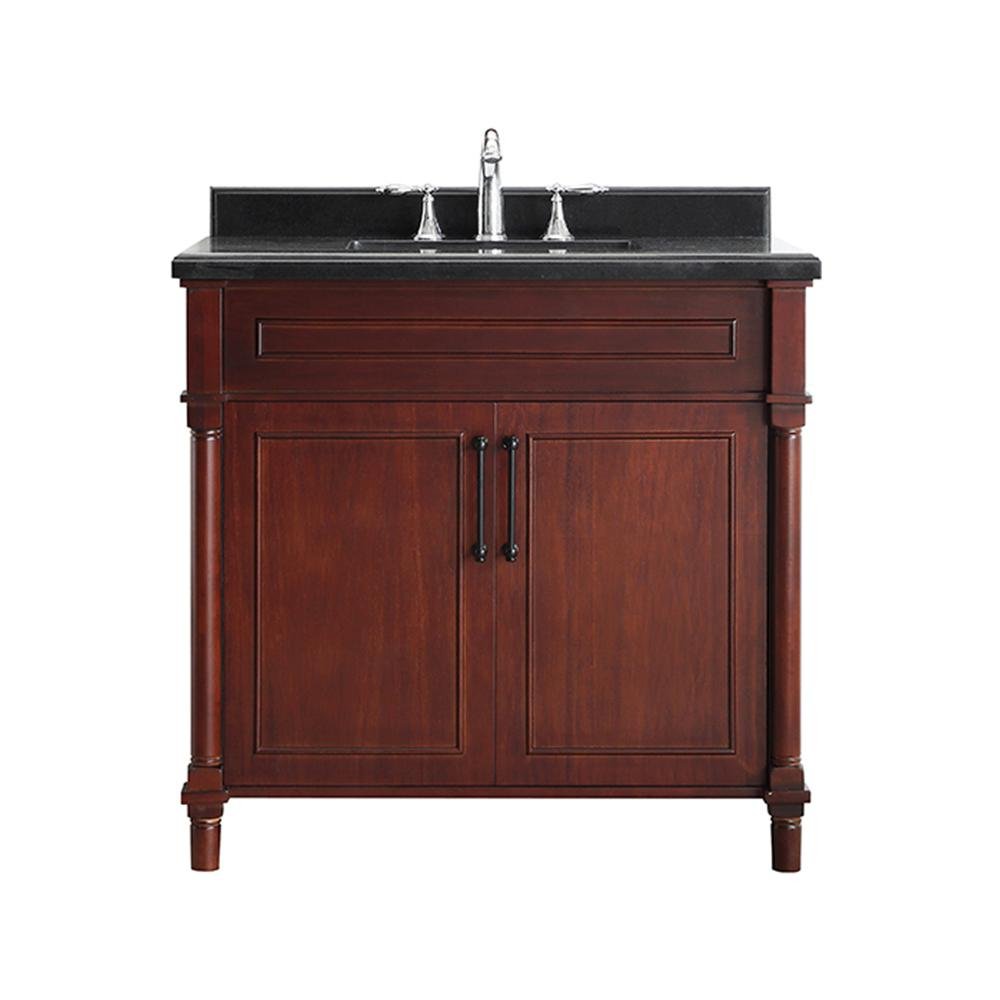 Home Decorators Collection Aberdeen 36 in. W x 22 in. D Bath Vanity in Dark Cherry with Granite Top in Black with White Sink
