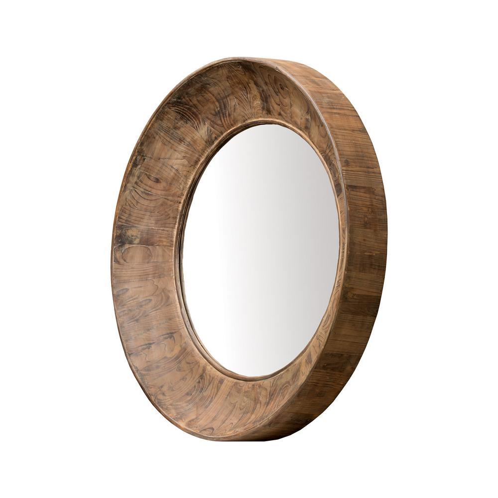 Prentice 40 in. Round Aged Cedar Framed Mirror