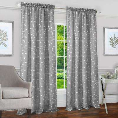 Chloe Silver Polyester Rod Pocket Curtain 50 in. W x 63 in. L