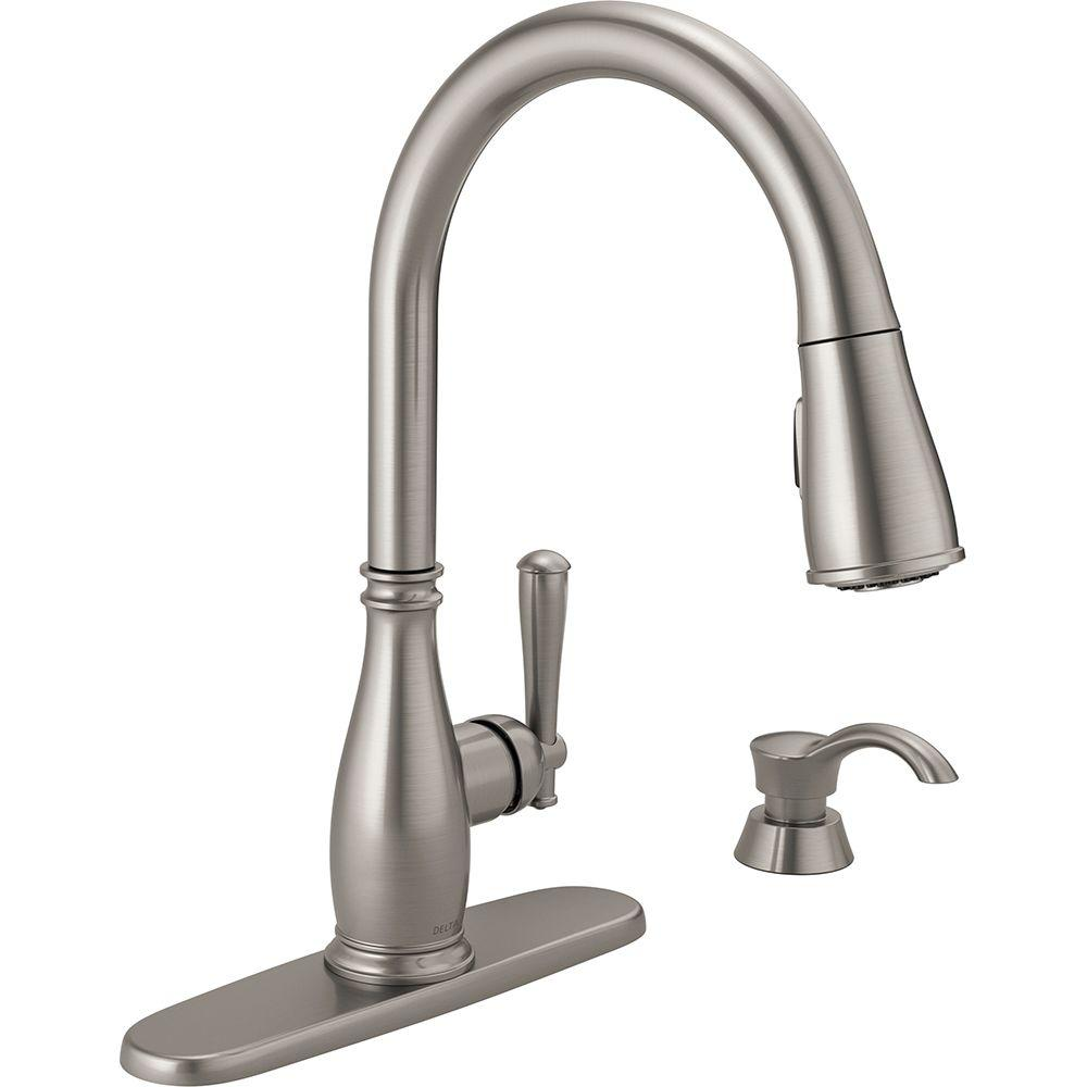 ca down view brilliance faucets delta one larger ashton soap pull single faucet kitchen stainless steel with handle dispenser