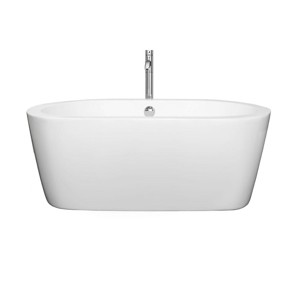 Wyndham Collection Mermaid 60 in. Acrylic Flatbottom Center Drain Soaking Tub in White with Floor Mounted Faucet in Chrome