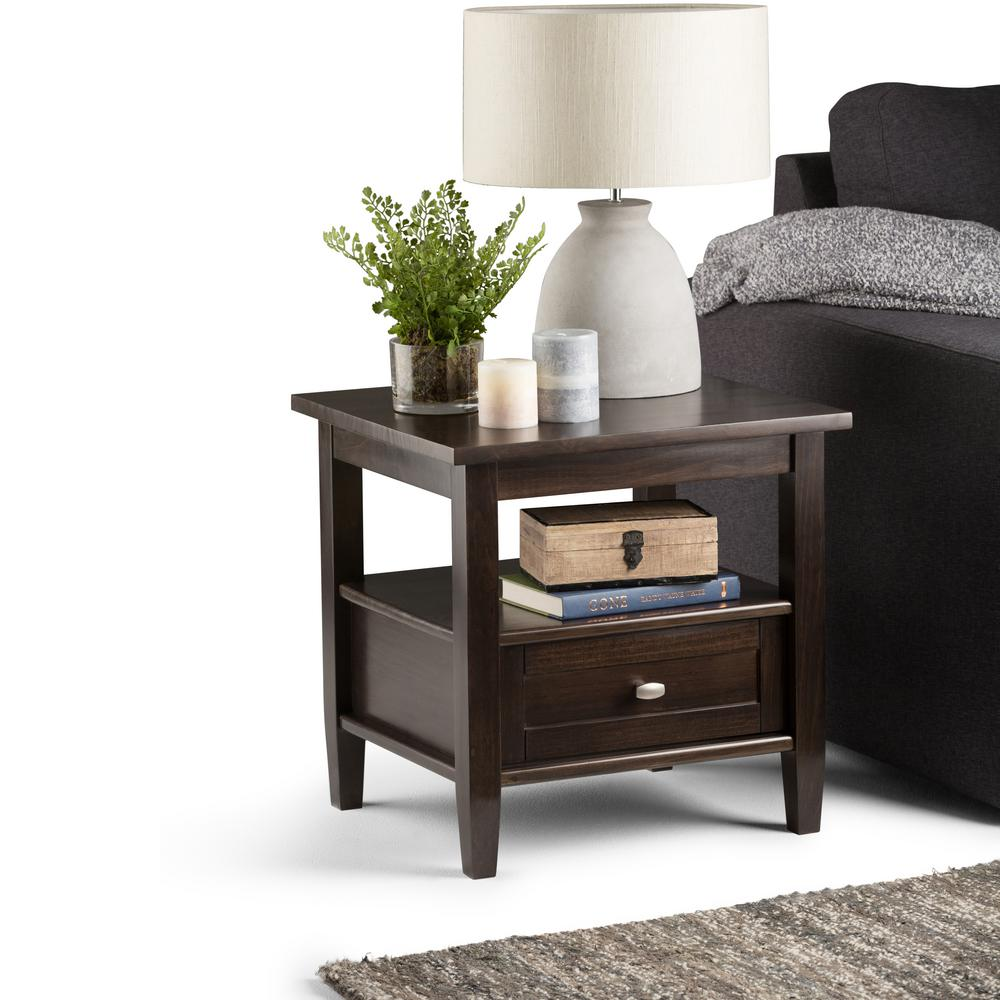 home accent tables simpli home warm shaker tobacco brown storage end table 1651