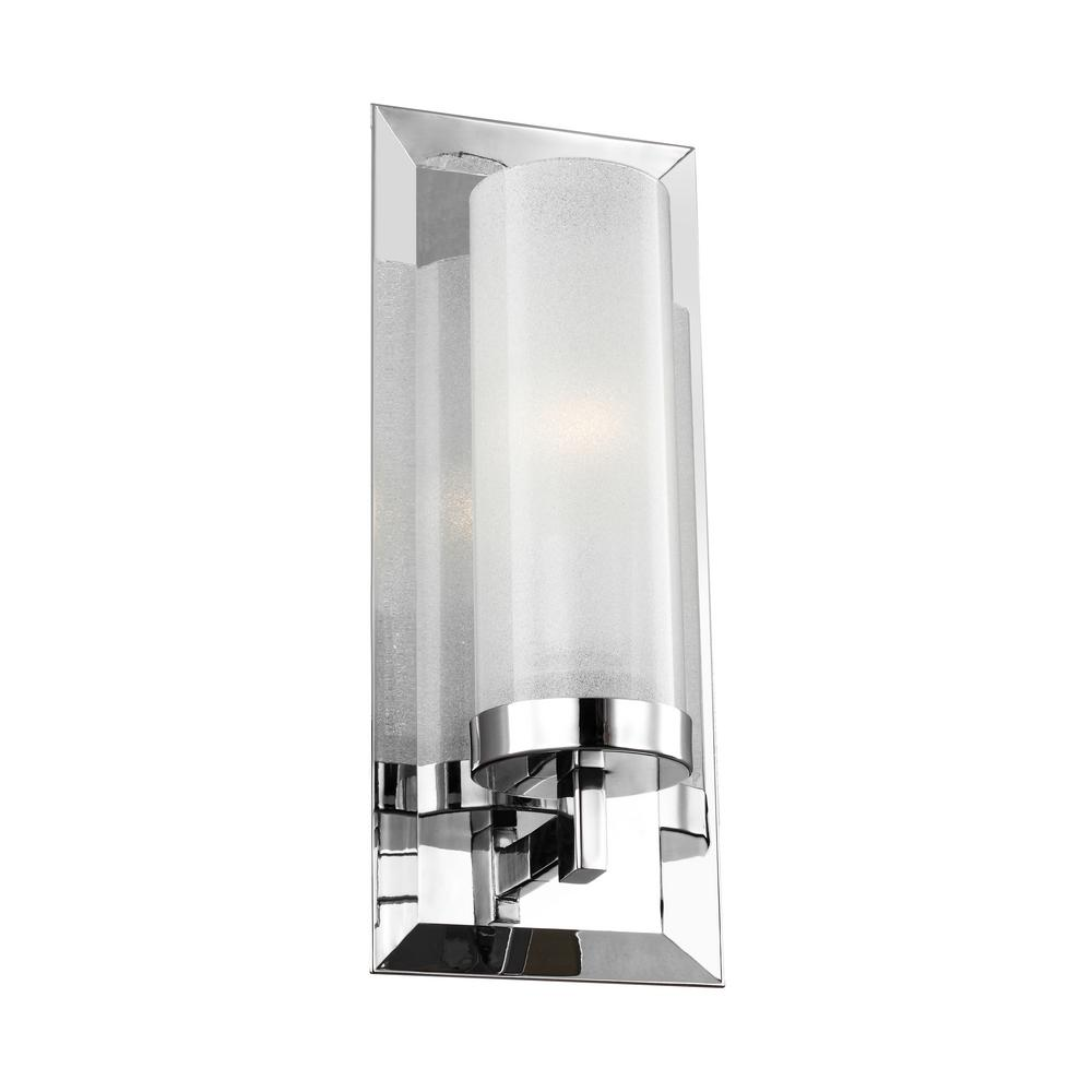 feiss pippin 1 light chrome wall sconce wb1853ch the home depot rh homedepot com bathroom wall sconce chrome finish bathroom wall sconces polished chrome