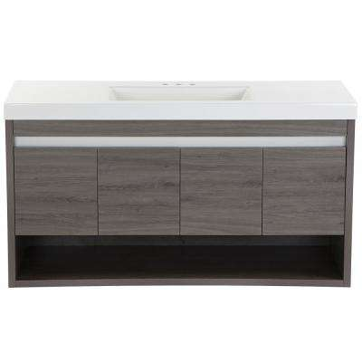 Wilby 48.5 in. W x 18.9 in. D Bath Vanity in Dark Oak with Cultured Marble Vanity Top in White with White Sink