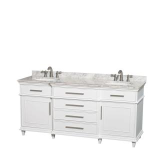 Wyndham Collection Berkeley 72 inch Double Vanity in White with Marble Vanity Top in... by Wyndham Collection