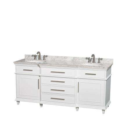 Berkeley 72 in. Double Vanity in White with Marble Vanity Top in Carrara White and Oval Basin