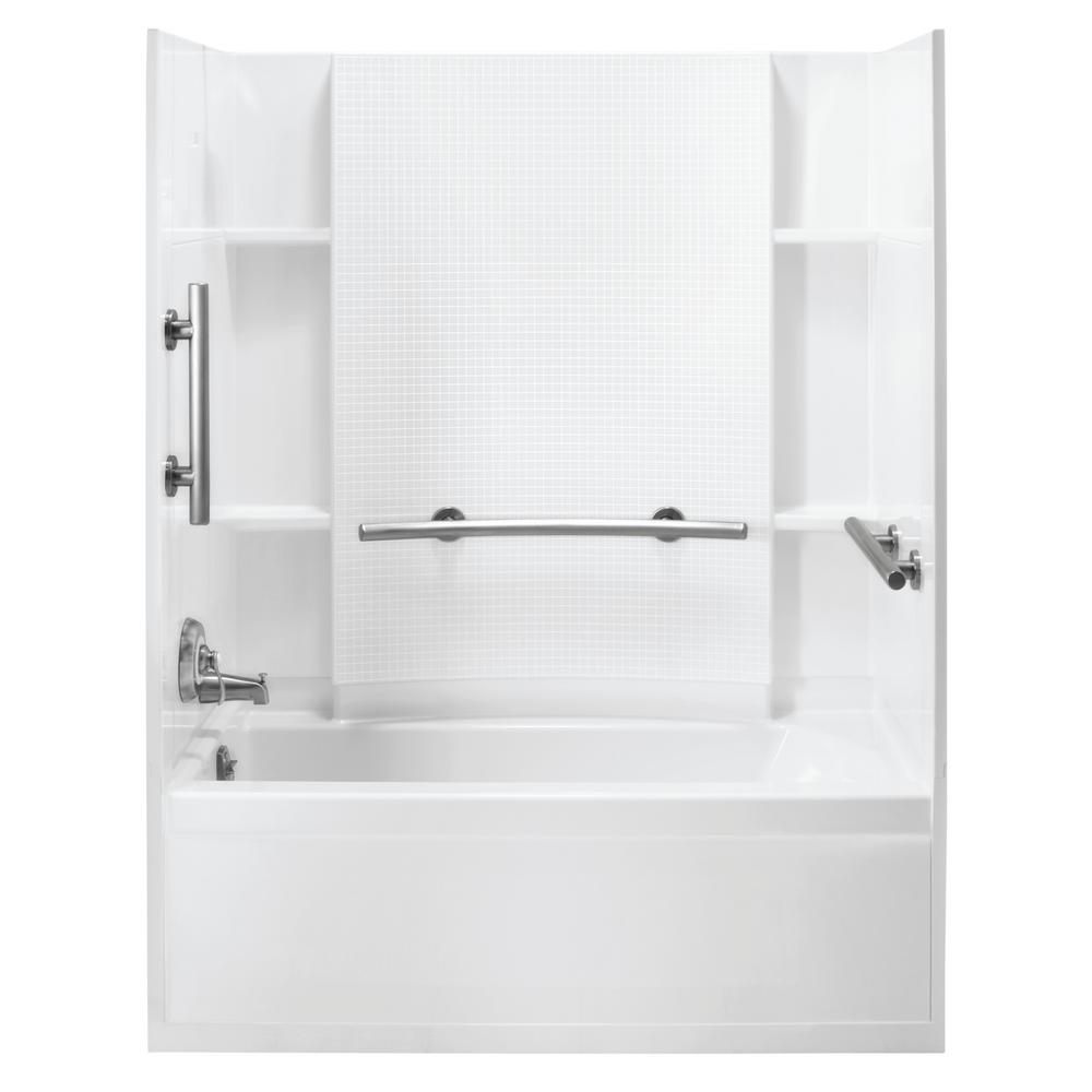 STERLING Accord 30 in. x 60 in. 3-Piece Snap-Together Installation Alcove Tub Surround Wall Set in White