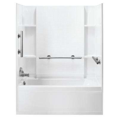 Accord 30 in. x 60 in. 3-Piece Snap-Together Installation Alcove Tub Surround Wall Set in White
