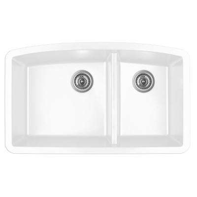 undermount quartz composite 32 in 6040 double bowl kitchen sink in white - White Undermount Kitchen Sink