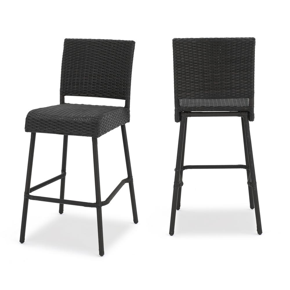 Le House Timothy Wicker Outdoor Bar Stool 2 Pack