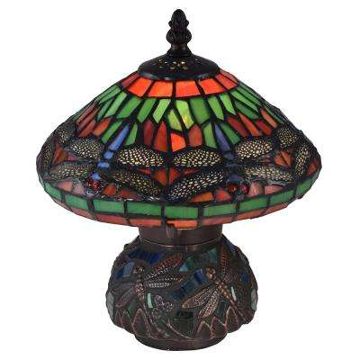 10.25 in. Red Dragonfly Antique Bronze Accent Lamp