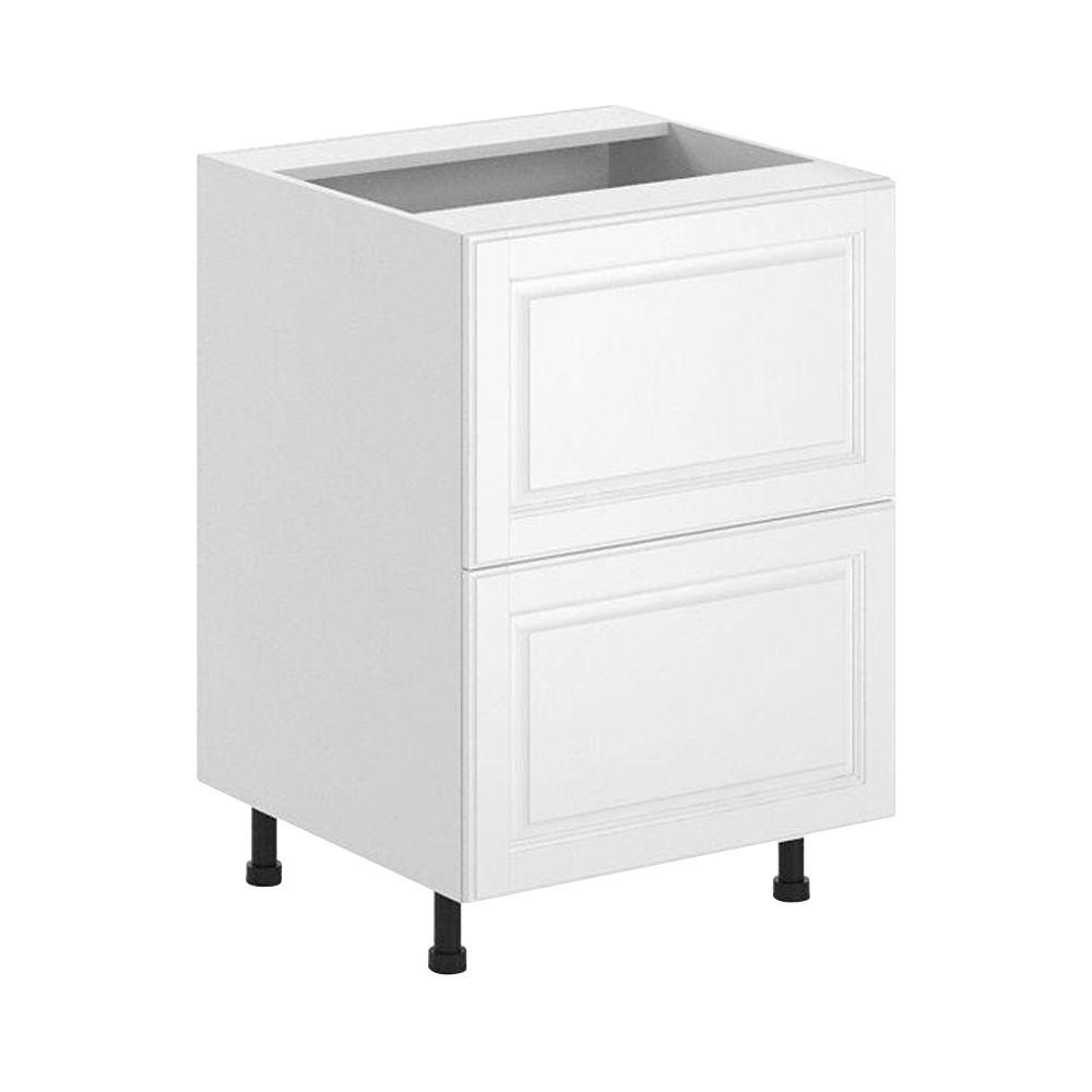 Fabritec Birmingham Ready to Assemble 24 x 34.5 x 24.5 in. 2-Deep Drawer Base Cabinet in White Melamine and Door in White