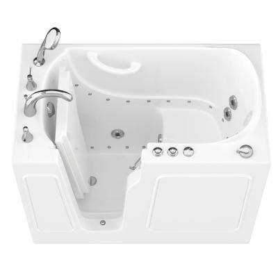 HD Series 46 in. Left Drain Quick Fill Walk-In Whirlpool and Air Bath Tub with Powered Fast Drain in White