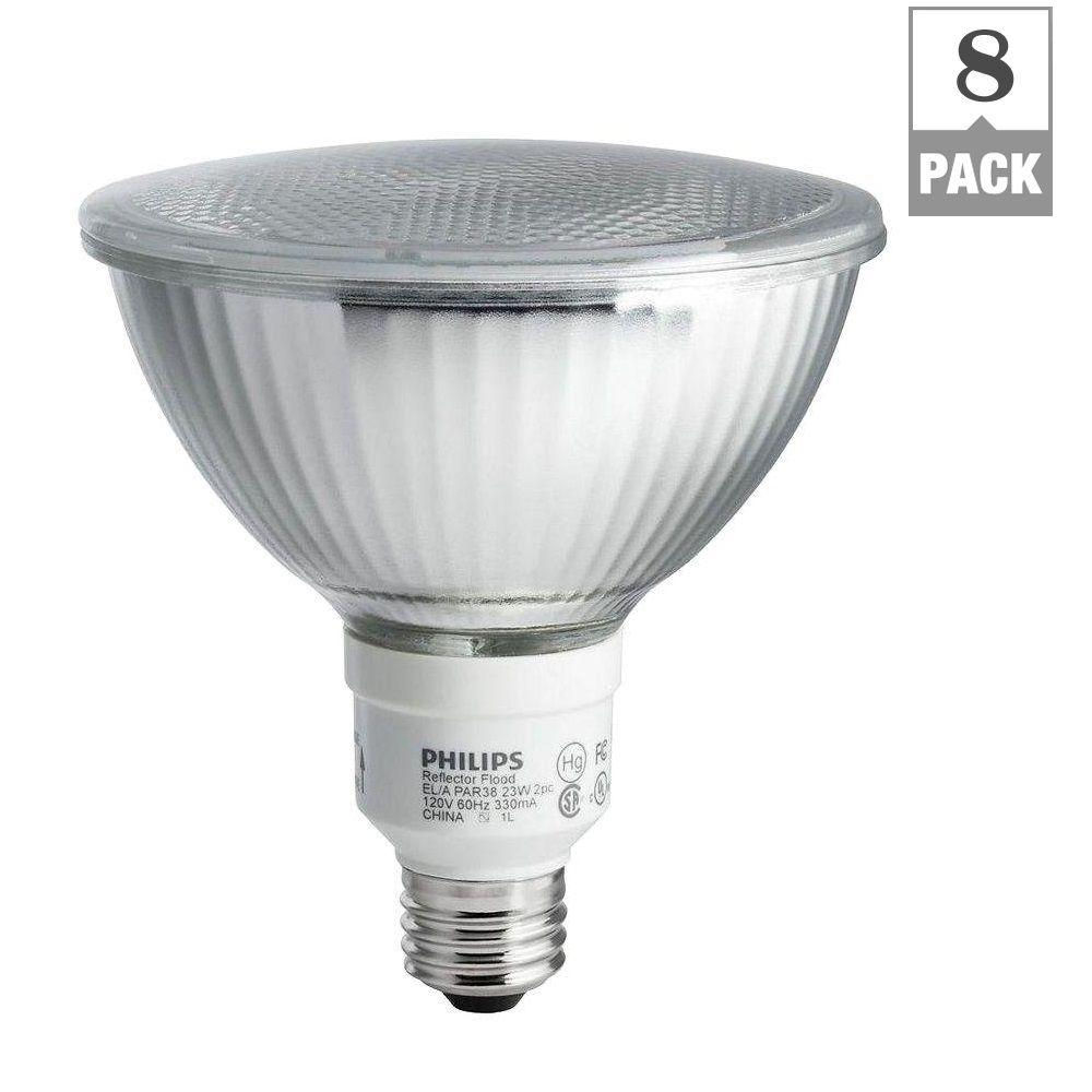 Philips 90W Equivalent Soft White (2700K) PAR38 CFL Light Bulb (8-Pack)