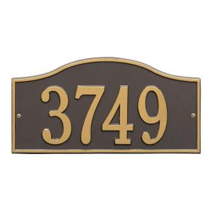 rolling hills rectangular bronzegold standard wall one line address plaque whitehall products - Whitehall Products