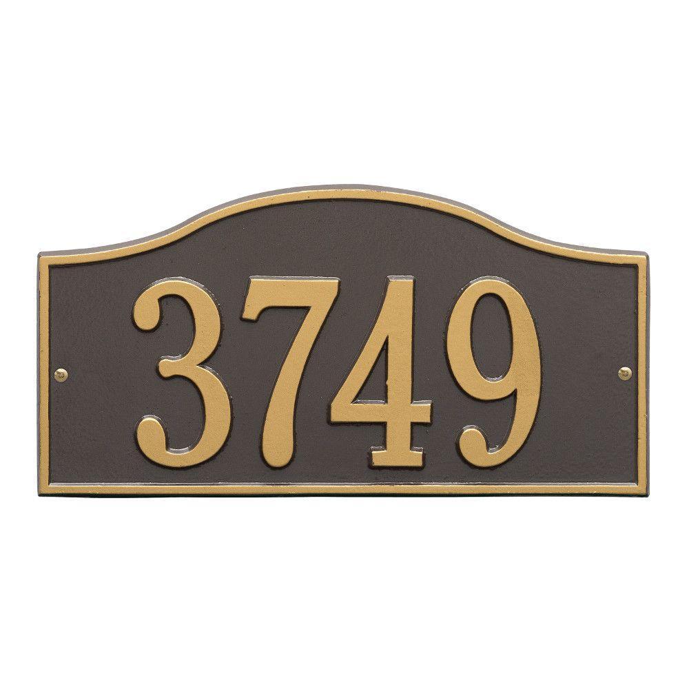 Rolling Hills Rectangular Bronze/Gold Standard Wall One Line Address Plaque